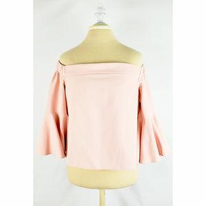 TOPSHOP Pink Off Shoulder Bell Sleeve Top